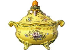 """Early-20th-century yellow Italian faience tureen with floral decoration. There is an """"X"""" on the underside of the tureen."""