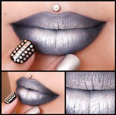 Melt Cosmetics Space Cake Lipstick, Mac Paint Stick in Black Black to deepen the outer corners and Sugarpill Loose Eyeshadow in Tiara over the top. Lip Art, Lipstick Art, Lipstick Colors, Lip Colors, Lipsticks, Grey Lipstick, Lipstick Shades, Sugarpill Cosmetics, Beauty Makeup