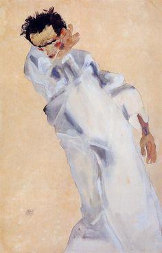 Self Portrait Artist: Egon Schiele Completion Date: 1912 Style: Expressionism Genre: self-portrait Technique: watercolor Material: paper Gal...