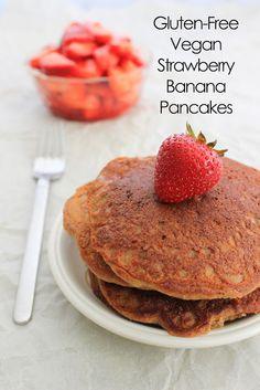 sixteenbeans.: Gluten-Free Vegan Strawberry Banana Pancakes