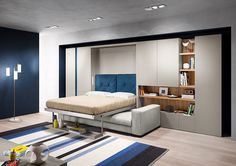 The Tango Sofa wall bed is a vertically opening queen size murphy bed system available in three widths, offering three sofa options.
