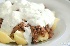 Μακαρόνια κοχύλια με πικάντικο κιμά και σάλτσα γιαουρτιού. Mashed Potatoes, Ethnic Recipes, Food, Whipped Potatoes, Smash Potatoes, Essen, Meals, Yemek, Eten
