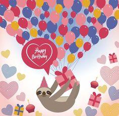 Sloth Birthday Blank Cards - Three Toed Sloth - 4 Designs to choose - Free Post Sloth Happy Birthday, Happy Birthday Cards, Birthday Wishes, Birthday Cake, Birthday Greetings, Facebook Birthday, Three Toed Sloth, Frog Design, Happy B Day