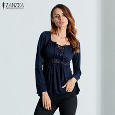Sexy V-Neck Long Sleeve Lace Splicing Blouse / Shirt