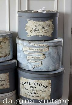 Abril Decoupage Vintage, Diy Crafts Vintage, Decoupage Box, Diy And Crafts, Vintage Hat Boxes, Vintage Suitcases, Cocina Shabby Chic, Shabby Chic Decor, Gris Rose