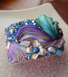 Shibori Silk Bead Embroidery CUFF by Serena Di Mercione