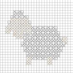 Crochet Bobble Stitch Sheep Square - Repeat Crafter Me - Diy Crafts - hadido Bobble Stitch Crochet, Crochet Stitches Chart, Crochet Motifs, Granny Square Crochet Pattern, Crochet Diagram, Knitting Charts, Crochet Squares, Cross Stitch Patterns, Crochet Patterns