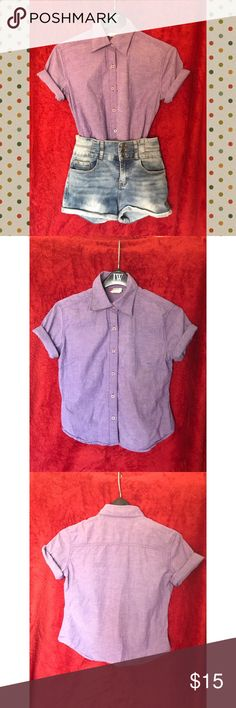 Levi's purple button down shirt Button down shirt with 3/4 sleeves but I rolled them up to give it a cute look. The lavender/purple color looks different depending on the lighting. It's a color that will flatter anyone. Great condition, worn only once. It's too small for me now. Has red Levi's tabs on it. Willing to negotiate on price also willing to trade. Levi's Tops Button Down Shirts