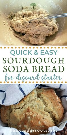 Bread doesn't have to take all day to get to the table. This Sourdough Soda Bread takes 40 minutes from mixing to spreading-it-with-butter. Give it a try today! Bread Bags, Healty Dinner, Sourdough Recipes, Soda Bread, Fresh Bread, Fermented Foods, Diy Food, Bread Baking, Recipe Using