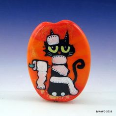 """THIS IS HOW I ROLL"" byKAYO a Handmade GOOFY CAT Lampwork  Glass Focal Bead SRA #Lampwork"