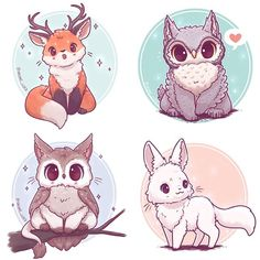 Mythical Animal Fusion Sticker and/or Prints - chibi - Cute Kawaii Animals, Cute Animal Drawings Kawaii, Cute Baby Animals, Cute Drawings, Arte Do Kawaii, Kawaii Art, Anime Kawaii, Kawaii Chibi, Mythical Creatures Art