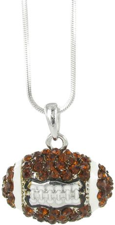 Brown Czech Crystal Football Pendant Necklace