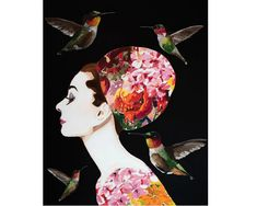 """""""Audrey with Hydrangea Florals and Hummingbirds"""" 