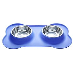 Fanme F010 Dog Bowls Double Stainless Steel Pet Water  Food Feeder with Non Spill Antiskid Bone Shape Rubber Mat for Cats and Small PetsS blue -- For more information, visit image link. This is an Amazon Affiliate links.