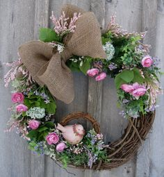 Charming Country Cottage Spring Wreath by NewEnglandWreath