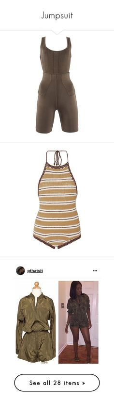 """""""Jumpsuit"""" by jadahnicole ❤ liked on Polyvore featuring alaïa, swimwear, one-piece swimsuits, swimsuits, swim, stripe, halter swimsuit, crochet swimsuit, 1 piece bathing suits and one piece swimsuit"""