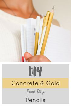 Super cool, and super easy! Why not try making these Concrete and Gold Dipped Paint Drip Pencils?
