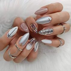 The trend of almond shape nails has been increasing in recent years. Many women who love nails like almond nail art designs. Almond shape nails are suitable for all colors and patterns. Almond nails can be designed to be very luxurious and fashionabl Cute Summer Nail Designs, Cute Summer Nails, Fall Nail Designs, Simple Nail Designs, Beautiful Nail Designs, Cute Nails, Spring Nails, Pedicure Designs, Summer Design