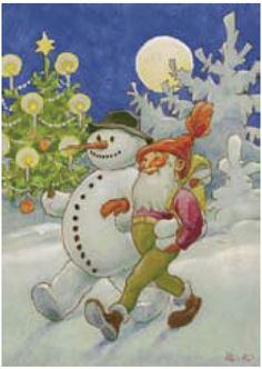 A Cristmas book by illustrator Rudolf Koivu Vintage Christmas Cards, Christmas Greetings, Vintage Cards, Vintage Book Art, Baumgarten, Winter Images, All Nature, Jingle All The Way, Hanging Pictures