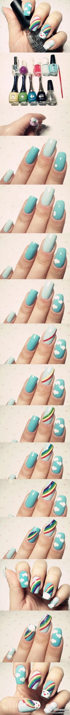 DIY Rainbows and clouds nails -- I SO wish my nails would grow long enough to do this!