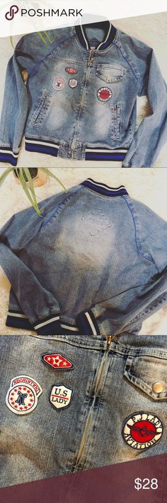 Lady PJMARK aviation bomber jacket Super cuter Bomber jacket, aviation style by PJMARK. Distressed look with aviation patches geared toward women. Great condition! Sz XL in teens but fits small-medium in ladies. PJ Mark Jackets & Coats