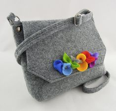 Young Girl's Purse, Child's Bag, Toddler Tote, Kids, felt bag felt purse handbag cross body Grey and Colorful flowers