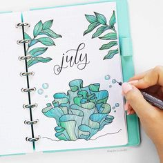 Bullet Journal July Month Cover Page - Ocean Theme #diaryideas
