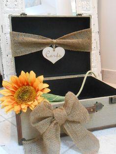 Burlap Suitcase Wedding Card Box, flower Suitcase Wedding Card holder www.dreamyweddingideas.com
