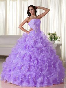 Lilac Strapless Floor-length Organza Quinceanera Dresses with Ruffles