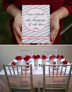 Doing it! cute invitation- come celebrate with cake, champagne and cute shoes