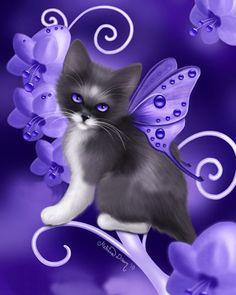 """""""Birthstone Fairy Cats: Amethyst"""" par Melissa Dawn"""