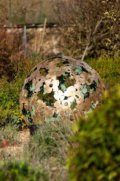 A diameter solid brass Garden sculpture sphere. The design is based on a Hydrangea flower, the choice of my client. Steel Sculpture, Garden Sculpture, David Murphy, Hydrangea Flower, Flowers, Solid Brass, Christmas Bulbs, Sculptures, Holiday Decor