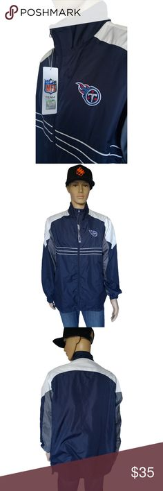 """NFL Sports Illustrated Reebok Titans Windbreaker Features: NFL Team Reebok Apparel Embroidered Titans Logo on Chest Embroidered Sports Illustrated Logo on Sleeve Drawstring Waist  Size XL 50"""" chest 20"""" Shoulder to Shoulder 25.5"""" Length  Flaws: Some dirt on shoulder area from storage  Any questions or extra photos don't hesitate to ask. I've described the item to the best of my ability.  All items come from a non smoking, non pet home. Reebok Jackets & Coats Windbreakers"""