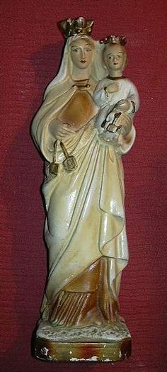 Virgin Mary Infant Jesus Our Lady of Mt Carmel Scapular Statue Old Catholic Figurine