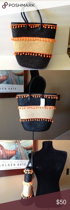 STRAW TOTE NWT You need this for your next beach or island vacation. Vibrant color contrast with the bright orange and black!! Fully lined. labelbe Bags Totes