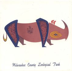 Milwaukee County Zoo ceramic trivet, 1960s