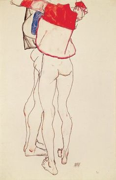 'two female torsos (the sisters)' by egon schiele Art And Illustration, Character Illustration, Figure Drawing, Painting & Drawing, Art Courses, Erotic Art, Artist Art, Gouache, Collage Art