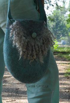 """Купить Валяная сумка """"Прохлада"""" - тёмно-бирюзовый, сумка валяная, сумка женская"""