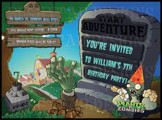 Plants vs Zombies Birthday Invitation and Thank You Card Package. $14.00, via Etsy.