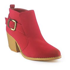 Mi.iM Dark Red Tess Bootie ($20) ❤ liked on Polyvore featuring shoes, boots, ankle booties, ankle boots, high heel bootie, buckle booties, synthetic boots, high heel boots and bootie boots
