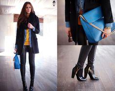 leather pants, blue bag, black coat, demin shirt, mustard yellow shirt, black scarf, black booties