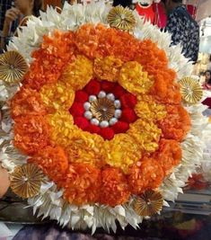 Such a beautiful medley of flowers & pearls. These beauties are here to add a touch of Magic to your Home Decor this Festive season✨ . These are sure to look stunning on your mantelpiece all year round💫 . DM for more details! Flower Rangoli Images, Rangoli Designs Flower, Colorful Rangoli Designs, Arti Thali Decoration, Diwali Decoration Items, Decoration For Ganpati, Diwali Diya, Diwali Craft, Festival Decorations