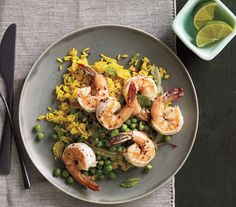 Spicy Shrimp With Peas and Curried Rice | They may be small in size, but the shrimp in these healthy dishes pack tremendous flavor.