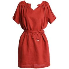 LUCLUC Orange Belted Casual Comfortable Cotton Crew Mini Dress ($26) ❤ liked on Polyvore