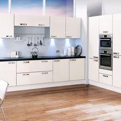 All-white L-shaped kitchen   L-shaped kitchen design ideas   Kitchen   PHOTO GALLERY   Beautiful Kitchens   Housetohome.co.uk