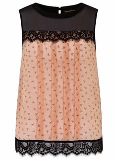 Blush bow print lace shell top - Tops & T-Shirts  - Clothing