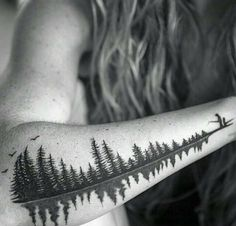 """Reflective trees, also a soundwave of a father saying the word """"Babydoll"""" to his daughter. A special request to represent a nickname and a loving memory of a girl and her father in a familiar setting outdoors fishing. Schallwelle Tattoo, Lake Tattoo, Piercing Tattoo, Body Art Tattoos, New Tattoos, Sleeve Tattoos, Tatoos, Tree Tattoos On Arm, Forearm Tree Tattoo"""