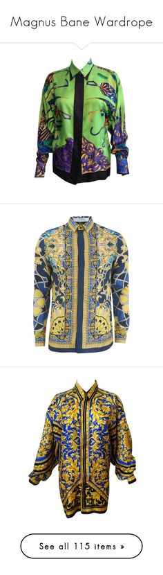 """""""Magnus Bane Wardrope"""" by nonanana ❤ liked on Polyvore featuring tops, blouses, multi, sleeve blouse, versace blouse, sleeve top, versace, vintage tops, men's fashion and men's clothing"""