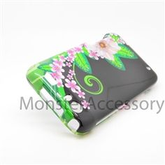 Click Image to Browse: $5.95 Black Green Flower Hard Case Snap On Cover For Motorola Atrix 3 HD Dinara MB886