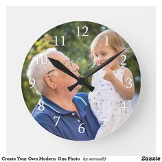 Create Your Own Modern  One Photo   Round Clock Happy Grandparents Day, Reflection Art, Grandpa Gifts, Unique Photo, Hand Coloring, First Photo, Aesthetic Wallpapers, Create Your Own, Black And Grey